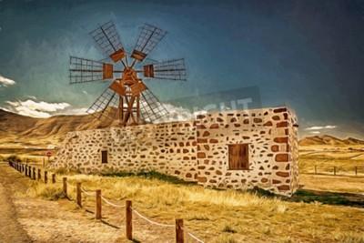 Quadro Impressione di un mulino a vento a Fuerteventura, Isole Canarie, Spagna