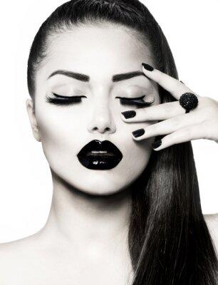 Quadro In bianco e nero Brunette Girl Portrait. Trendy Caviar Manicure