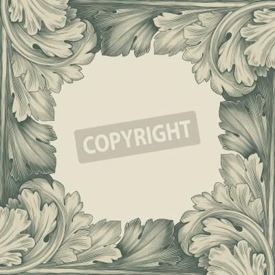 Quadro incisione vintage frame confine con retrò ornamento antico in stile rococò disegno decorativo