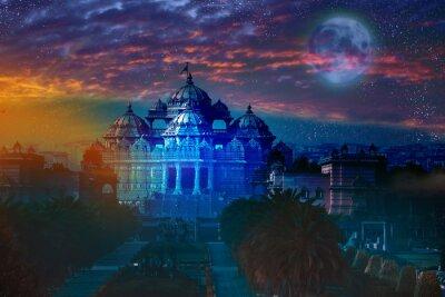 Quadro India. Delhi.temple Akshardham dalla luce della luna piena.
