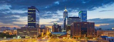 Quadro Indianapolis. Immagine di Indianapolis skyline al tramonto.