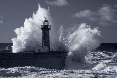 Quadro Infrarossi vecchio faro in tempesta