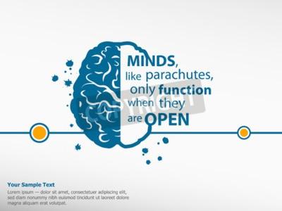 Quadro Inspirational citazione motivazionale su sfondo cervello