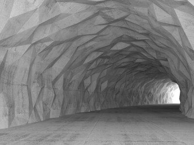 Quadro interno del tunnel 3d con il caotico sollievo poligonale