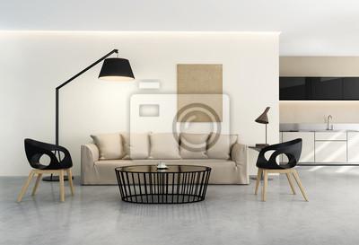 Interno fresco e contemporaneo, cucina moderna e soggiorno dipinti ...