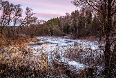 Quadro Inverno o primavera fiume e legno