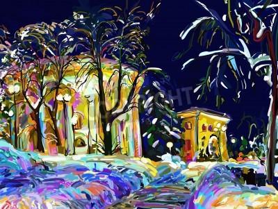 Quadro inverno paesaggio urbano di notte pittura digitale