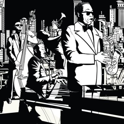 Quadro Jazz band a giocare a New York