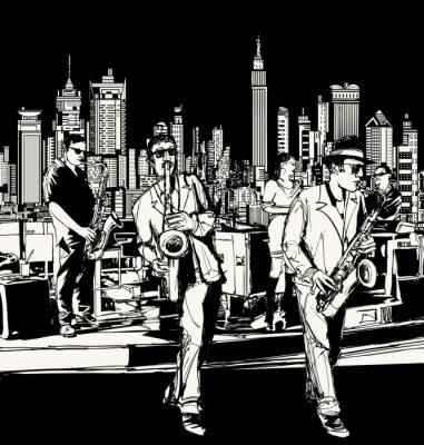 Quadro Jazz band che gioca a New York