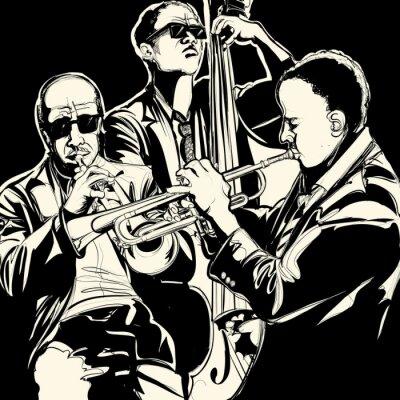 Quadro jazz band con la tromba e contrabbasso
