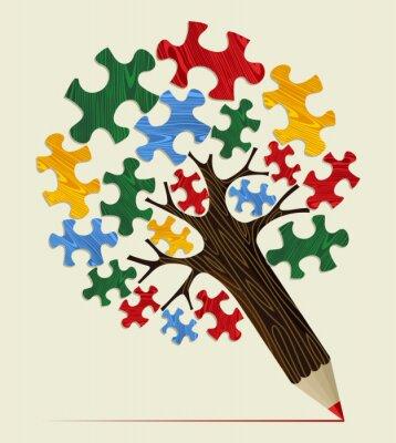 Quadro Jigsaw strategico concetto di albero matita