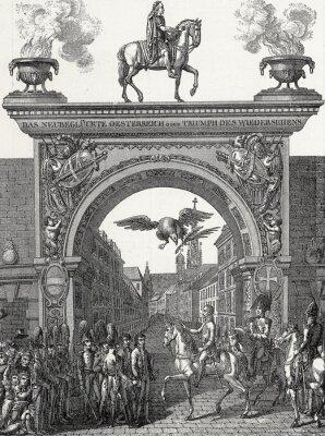 Quadro Kaiser Franz I. zieht a Vienna ein im Juni 1814, Kupferstichvorlage
