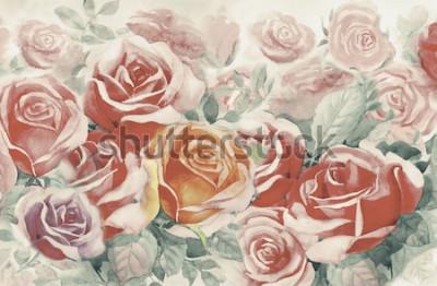 Quadro L'illustrazione ha dipinto i fiori variopinti della molla mazzo di rose nel giardino e l'emozione nell'annata realistica con fondo blu astratto, pittura originale del paesaggio dell'ac
