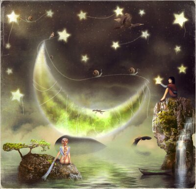 Quadro L'illustrazione mostra l'isola da favola nel cielo