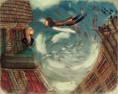 Quadro L'illustrazione mostra un uomo in sky.He cresce in una ragazza bird.A sorge su un balcone e guarda in cielo