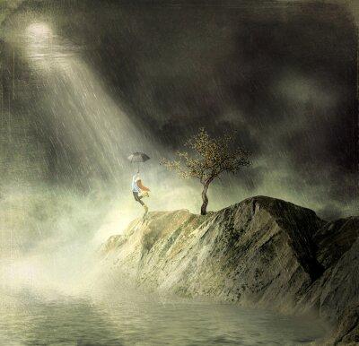 Quadro L'illustrazione mostra una ragazza in montagna of.A ragazza con un ombrello danza sotto la pioggia
