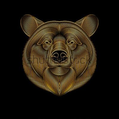Quadro L'incisione di un orso d'oro stilizzato su sfondo nero. Disegno lineare.