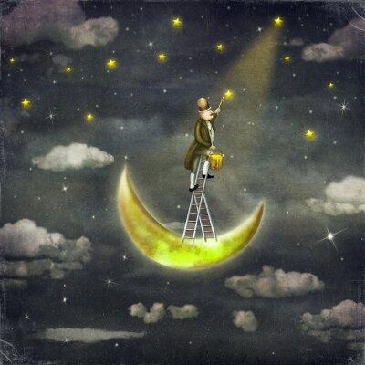Quadro L'uomo disegna stelle in cima alla scala di altezza nel cielo scuro