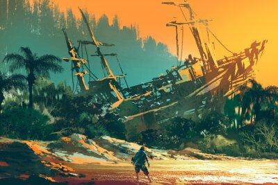 Quadro l'uomo naufrago in piedi sulla spiaggia di isola con la barca abbandonata al tramonto, illustrazione pittura