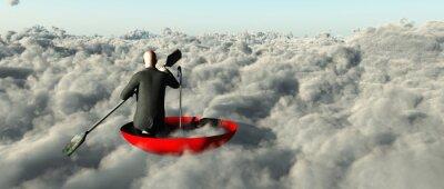 Quadro L'uomo remare attraverso le nuvole in un ombrello rovesciato