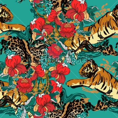 Quadro La bella tigre astratta con i fiori rossi ed il modello di tendenza senza cuciture. Tessuto di design