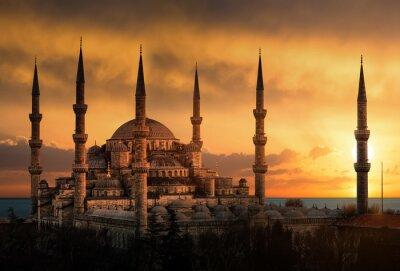 Quadro La Moschea Blu di Istanbul durante il tramonto