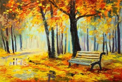 Quadro la pittura a olio - foresta Autunno colorato