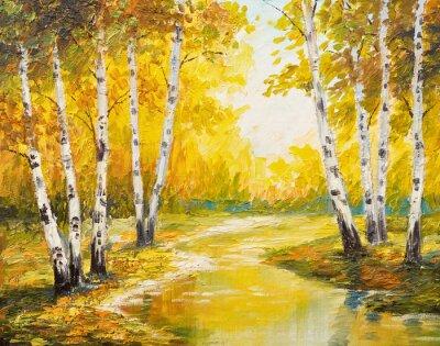 Quadro la pittura a olio - foresta di autunno vicino al fiume, foglie d'arancio