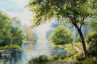 Quadro la pittura a olio - foresta di colori