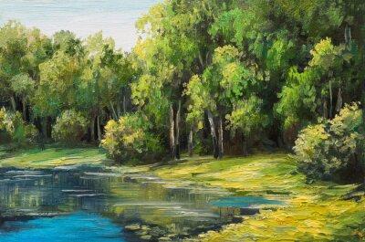 Quadro la pittura a olio - lago nella foresta, giorno d'estate
