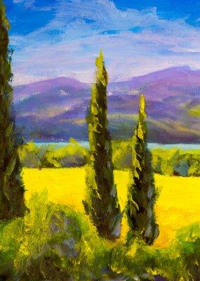 Quadro La pittura dei cipressi italiani toscani abbellisce verticalmente i cespugli delle montagne del campo