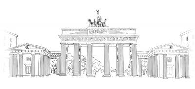 Quadro La Porta di Brandeburgo. Berlino simbolo arch. A mano a matita disegnato schizzo illustrazione vettoriale isolato su sfondo bianco