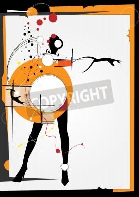 Quadro La ragazza nello stile di un cubismo. Piazze, vernici, sfondo nero