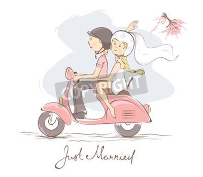 Quadro La sposa e lo sposo su uno scooter / illustrazione vettoriale, carta, sposa getta il bouquet