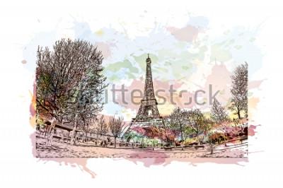 Quadro La Torre Eiffel è una torre a traliccio in ferro battuto sul Champ de Mars a Parigi, in Francia. Spruzzata dell'acquerello con l'illustrazione di schizzo disegnato a mano nel vettore.