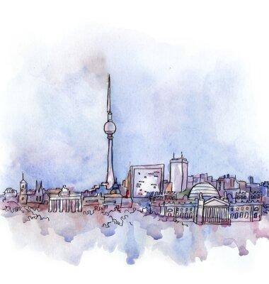 Quadro la vista di Berlino acquerello di paese dell'Unione europea isolato su sfondo bianco