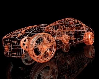 Quadro la vista frontale delle automobili di modello moderne 3d rende su fondo nero
