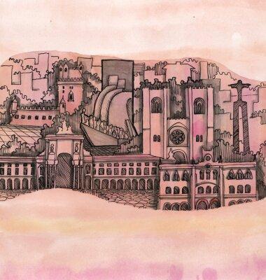 Quadro la vista panoramica della mano Lisbona disegnato sulla carta da parati isolato sullo sfondo del colore