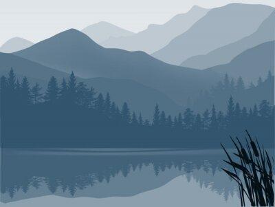 Quadro lago blu e grigi nella foresta di montagna