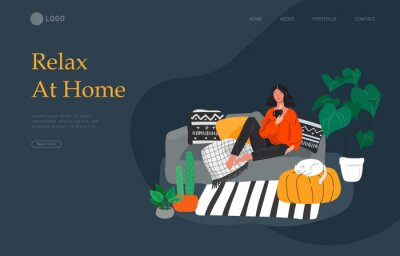 Quadro Landing page template with girl sitting and resting on the couch with a cat and coffee. Daily life and everyday routine scene by young woman in scandinavian style cozy. Cartoon vector