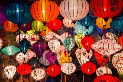 Quadro lanterne di carta per le strade della città vecchia asiatico