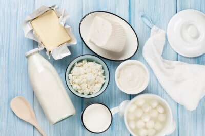 Quadro Latticini. Panna acida, latte, formaggio, uova, yogurt e burro
