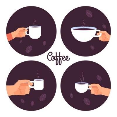 Quadro Le mani che tengono le icone di vettore delle tazze di caffè hanno messo isolato sull'illustrazione bianca del fondo