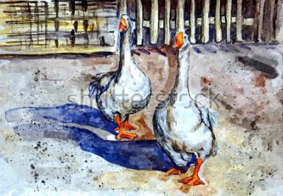 Quadro Le oche domestiche camminano nel cortile. Disegno acquerello su carta Arte ingenua. Arte astratta. Pittura ad acquerello su carta.