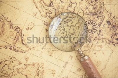 Quadro Lente d'ingrandimento, mappe, finanza, affari, turismo, esplorazione