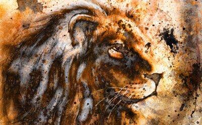 Quadro leone collage sul colore astratto struttura di fondo, ruggine,