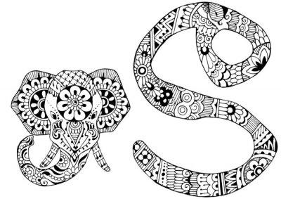Quadro lettera è decorato nello stile di mehndi