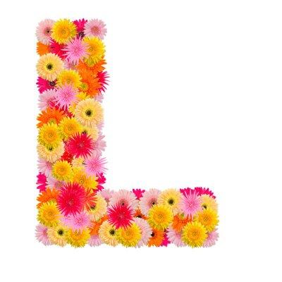 Quadro Lettera L alfabeto con gerbera isolato su sfondo bianco