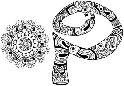 Quadro lettera P decorato nello stile di mehndi