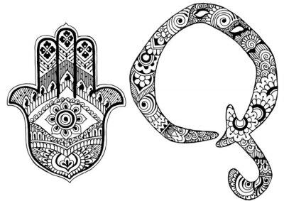 Quadro lettera Q decorato nello stile di mehndi